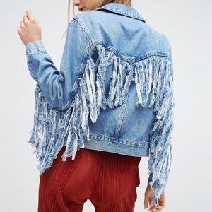 ASOS Denim Jacket MID-Blue with Fringed Back